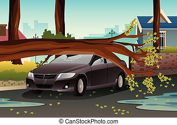 Tree on a Damage Car - A vector illustration of tee on a...