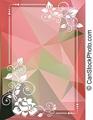 pink green floral border - Abstract floral border on a pink...