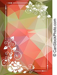 red green floral border - Abstract floral border on a red...