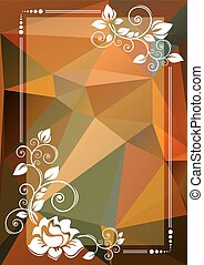 orange green floral border - Abstract floral border on a...