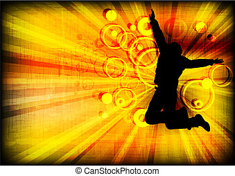 Jumping person on grunge background (eps 10) - Silhouette of...