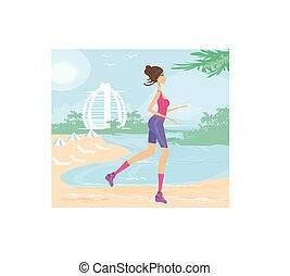 Fitness Woman Running by the Ocean