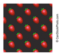 Strawberry pattern on a black background.