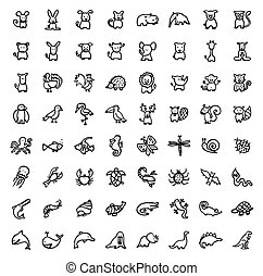 ANIMALS - black and white hand drawn icons - ANIMALS