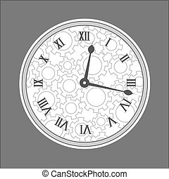 Vector. Graphic tower style clock with roman numbers. Time. Isolated illustration