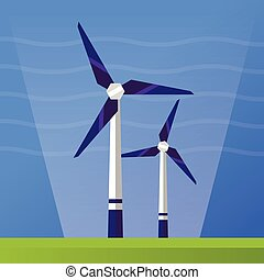 Wind Power - flat design single icon - Wind Power single...