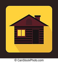 Wooden log house icon, flat style
