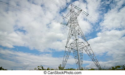 High voltage tower with sky background.