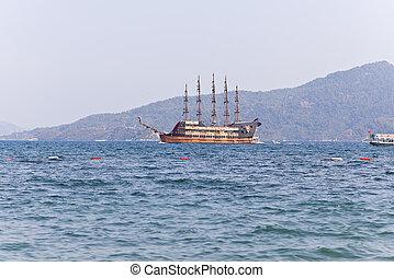 Pleasure sailing boat stylized as a pirate ship Aegean Sea...