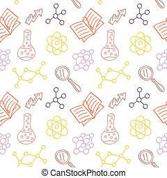 School or Science Supplies - Hand drawn seamless pattern...