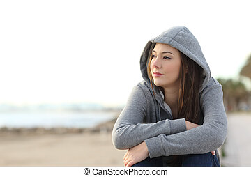 Longing pensive teenager looking away - Portrait of a...