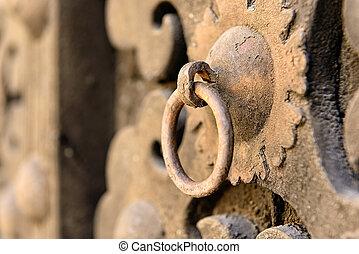 Doorknob Italy - Doorknob on a door in the city of Visso,...