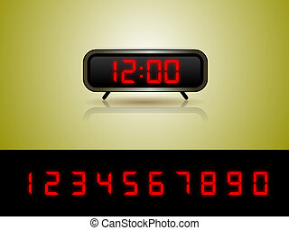 Alarm Clock with Digits Vector - Layered vector illustration...