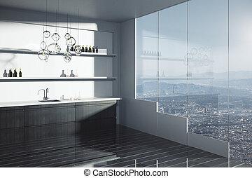 Modern dark kitchen interior - Side view of modern kitchen...