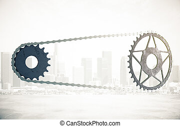 Bicycle gearing on city background - Bicycle gearing on...