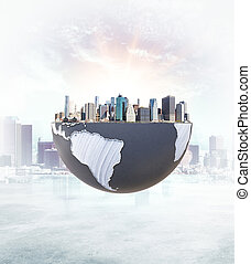 Urbanization concept city on globe - Urbanization concept...