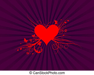 Red Heart with Foliage Vector