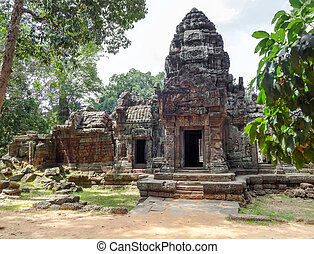 Ta Prohm temple at Angkor - detail of the Ta Prohm temple at...