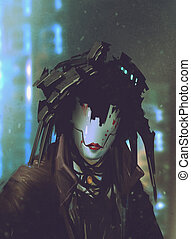 robot woman with artificial face,futuristic...