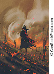 man in black cloak,burning forest - man in black cloak...