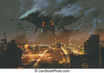 Alien monster invading night city - sci-fi scene,Alien...