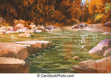 creek in autumn forest,nature,landscape,illustration...