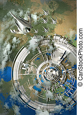 aerial view of futuristic city,alien planet,illustration...