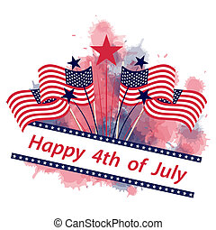 July 4 with flags and stars card - Greeting Card on July 4...