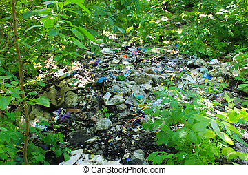 Garbage in forest Environmental pollution