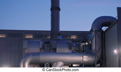 Chimneys of Power Plant Air Pollution Concept - Factory...
