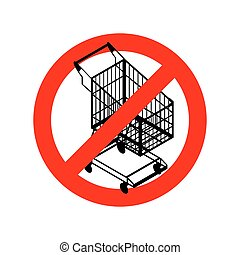 Stop shopping cart Prohibited shopping trolley Strikethrough...