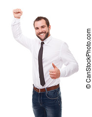 Portrait of excited businessman celebrating success over...