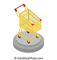 Shopping cart gold. Award for best buyer. Precious shopping trolley. Best Sellers