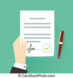 Business man hand holding legal contract document agreement signature vector