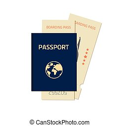 Passport with flight tickets vector illustration isolated on white background
