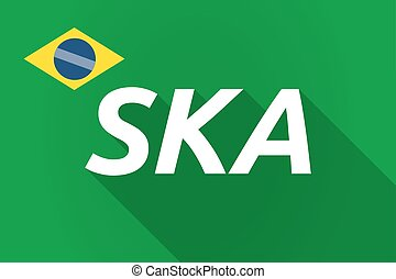 Long shadow Brazil flag with the text SKA - Illustration of...