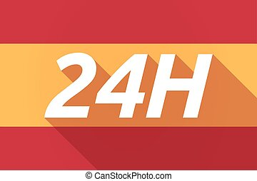 Long shadow Spain flag with the text 24H - Illustration of a...