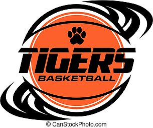 tigers basketball team design with swishes for school,...