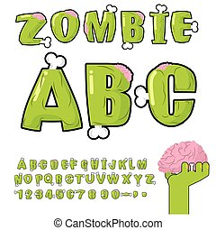 Zombie ABC. Bones and brains. horror monstr font. Living...