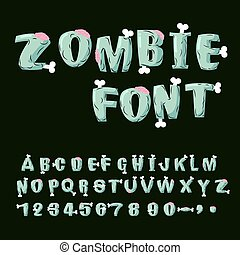 Zombie font. Bones and brains. Living dead alphabet. Green...