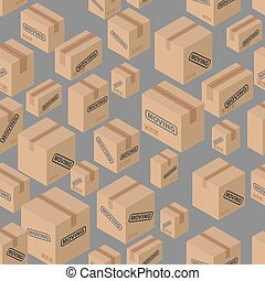Moving seamless pattern. Lot of cardboard boxes background....