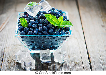 Bowl of  fresh picked blueberries