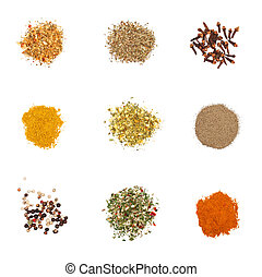 Spices set on white Individual seasonings and mixes thereof