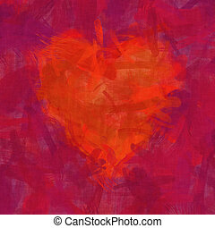 red heart brush stroke background - 2D illustration of an...
