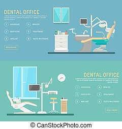 Vector flat banners dental office with seat and equipment tools.