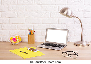 Creative desktop with white laptop - Closeup of creative...