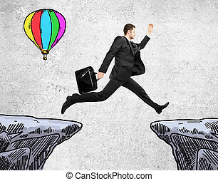 Success concept with jumping businessman - Success concept...