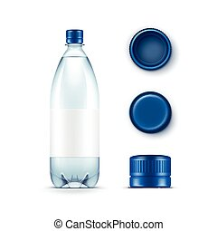 Vector Blank Plastic Blue Water Bottle with Set of Caps Isolated on White Background