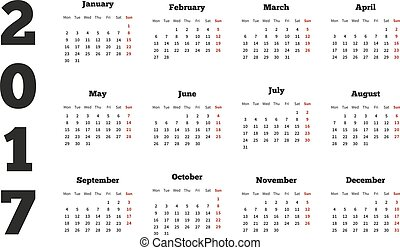 Calendar on 2017 year with week starting from monday, A4...