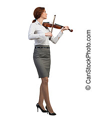Businesswoman playing violin - Young pretty businesswoman...